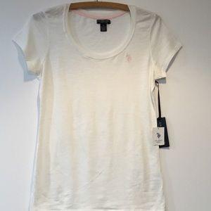U.S. Polo Ass. White Crew Neck T-shirt Size S